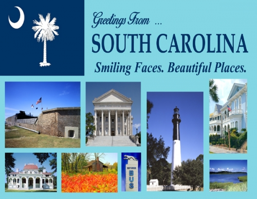greeting from south carolina  smiling faces  beautiful places   postcard