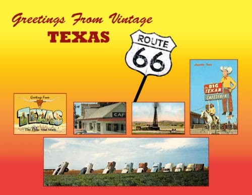 Greetings from vintage texas 66 postcard texas route 66 vintage greetings m4hsunfo