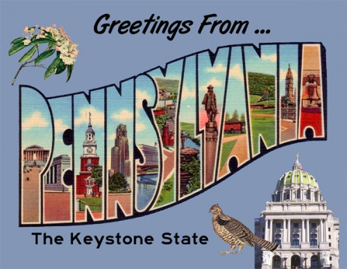 Greeting from pennsylvania the keystone state postcard pennsylvania greetings postcard m4hsunfo