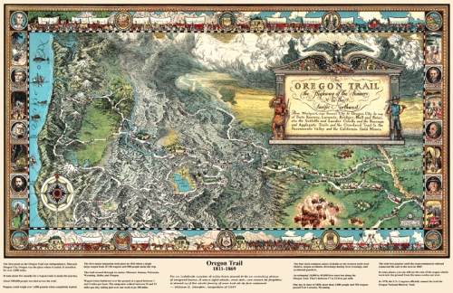 Vintage Oregon Map.Oregon Trail Map 11x17 Poster