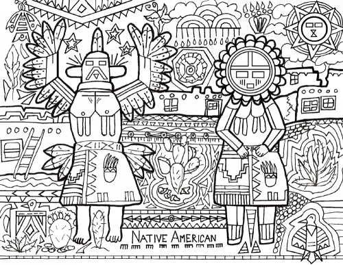 Pueblo People Coloring Article