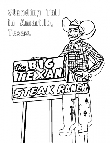 amarillo texas big texan sign coloring page download
