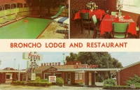 Broncho Lodge and Restaurant, Amarillo, Texas Postcard