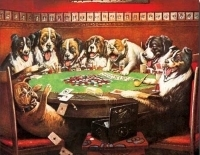 8 Druken Dogs Playing Cards Tin Sign