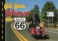 Get Your Kicks on Route 66- Motorcycle Postcard