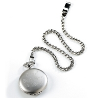 Silver Brushed Pocket Watch (Personalized)