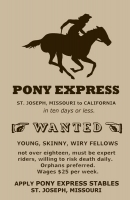 Pony Express Riders Wanted 11x17 Poster