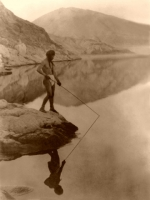 Paviotso Man Fishing off Rock -Print or Canvas - Starting @ $12.99