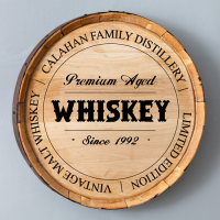 Whiskey Barrel Signs (made from authentic oak whiskey barrels & Personalized)