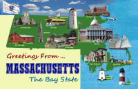 Massachusetts Postcard Poster