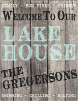 Personalized Wood Lake House Canvas Sign (18x24)
