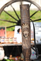 Carved Totem Walking Stick with Compass - Indian Head