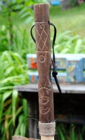 Carved Totem Walking Stick with Compass - Flat Totem