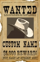Wanted - Reward (Personalized) 11x17 Poster