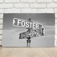 Black and White Street Sign Canvas - 24x18  (Personalized)