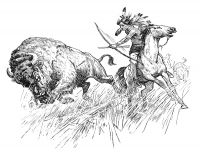 Indian Buffalo Hunt Coloring Page (Download)