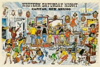 Capitan, New Mexico Western Saturday Night Postcard