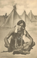 Indian with Peace Pipe Postcard