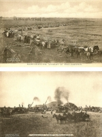 Harvesting/Threshing Wheat in Oklahoma - Set of 2 Postcards
