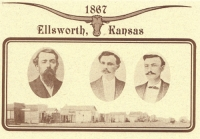 Sheriff Whitney Killed by Thompson Brothers, Ellsworth, KS Postcard