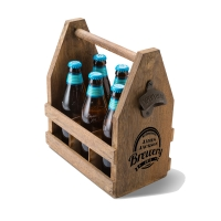 Beer Caddy with Bottle Opener (Personalized)