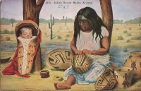 Indian Basket Maker, Arizona Postcard