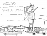 Amboy, California - Roy's Gas Coloring Page (Download)