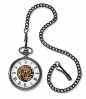 Exposed Gears Gunmetal Pocket Watch (Personalized)