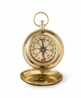 High Polish Gold Keepsake Compass with Wooden Box (Personalized)