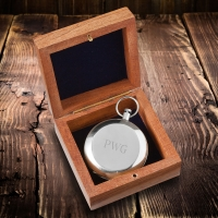 High Polish Silver Keepsake Compass with Wooden Box (Personalized)