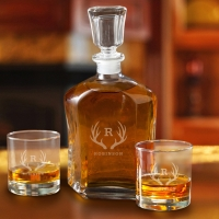 Decanter Set with 2 Low ball Glasses (Personalized)