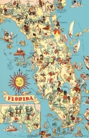 Florida Cartoon Map 11x17 Poster