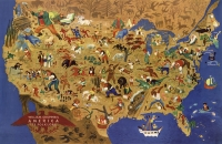 Folklore Cartoon Map (William Gropper-1946) 11x17 Poster
