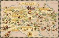 Kansas Cartoon Map 11x17 Poster