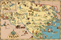 Texas Cartoon Map 11x17 Poster