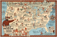 Paul Bunyan's Pictorial Map of the United States 11x17 Poster