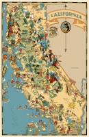 California Cartoon Map 11x17 Poster