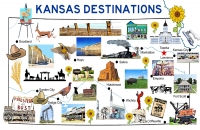 Kansas Destinations Map Poster