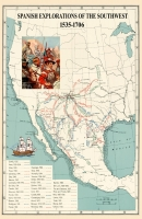 Spanish Explorations in America Map Poster
