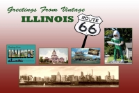 Illinois Route 66 Vintage Greetings Postcard (4x6)