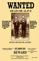 Frank & Jesse James Wanted 11x17 Poster